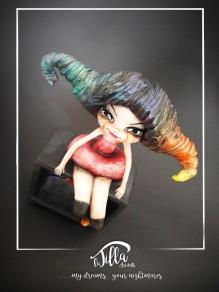 """RAINBOW, THE FIRST CRAZY CIRCUS"" http://www.international-art-doll-registry.com IADR#20171179 Cold porcelain, acrylic and a bit 'of madness. (6 inch, 7,8 inch, deep 3,1 inch) January 2017 http://www.international-art-doll-registry.com IADR#20171179 Porcellana fredda, acrilico e un po' di pazzia. (15cm x 20cm profondità 8cm circa) Gennaio 2017"
