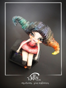 """RAINBOW, THE FIRST CRAZY CIRCUS"" http://www.international-art-doll-registry.com IADR#20171179 Cold porcelain, acrylic and a bit 'of madness. (6 inch, 7,8 inch, deep 3,1 inch) January 2017 http://www.international-art-doll-registry.com IADR#20171179 Porcellana fredda, acrilico e un po' di pazzia. (15cm x 20cm profondità 8cm circa) Gennaio 2017"