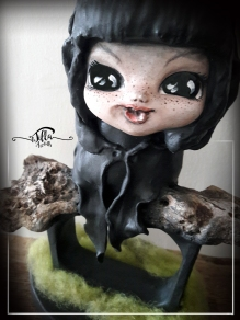 "OOAK, ""SPIRITELLO MONACIELLO"" sculpture ""fan art"" inspired by the little spirit ""Monaciello"", Creation in wood, cold porcelain and acrylic colors (7"", 10,2"", depth about 4"")"