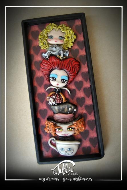 """""""DIORAMA ALICE IN WONDERLAND"""" Diorama inspired by Tim Burton's """"Alice film in Wonderland"""". cold porcelain, acrylics and wood. 5,11 inch, 11,5 inch, depth 0,8 inch. April 2016 Diorama ispirato al film di Tim Burton""""Alice nel paese delle meraviglie"""". Porcellana fredda, colori acrilici e legno, 13 x 29, 3 cm profondità 2 cm. Aprile 2016"""