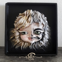 """""""BEAUTY .... FROM LIFE TO DEATH"""" Wood, cold porcelain and acrylics. 7.2 inch, 7. inch, height 1.5 inches"""