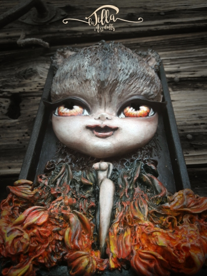 """""""METAMORPHOSIS ..... THE WOMAN WOLF"""" wooden box with doll in cold porcelain and acrylic paints (5.3 """", 8.7"""", height 2.2 """")"""
