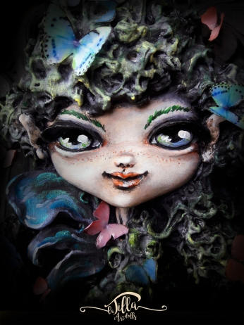 """""""THE FAIRY OF BUTTERFLIES"""" Wooden box (8.6 """", 10.6"""", 2.7 """"deep), cold porcelain and acrylics."""