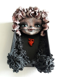 """""""RED HEART"""" Wood, cold porcelain and acrylics, 5 """"x 9.5"""""""