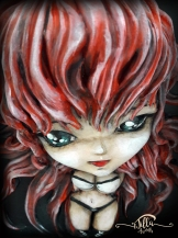 """""""RIAS GREMORY"""" Wooden box (7 """", 8"""", depth """"2,3""""). Sculpture made in cold porcelain and painted with acrylic paints!"""