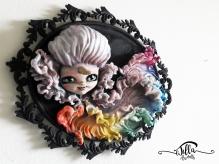 """The Rainbow Unicorn"" Cold porcelain and acrylic colors on metal frame (14 ""12.2"" 3 ""deep)"