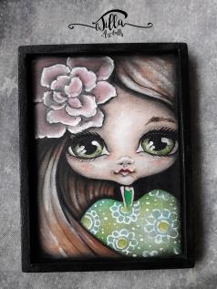 """""""ERICA"""" Acrylics on wood, 4"""" x 6.2"""""""