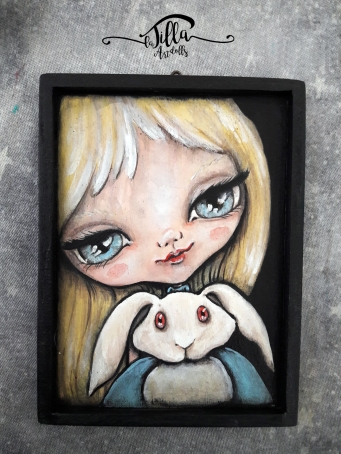 """ALICE"" Acrylics on wood, 4"" x 6.2"""