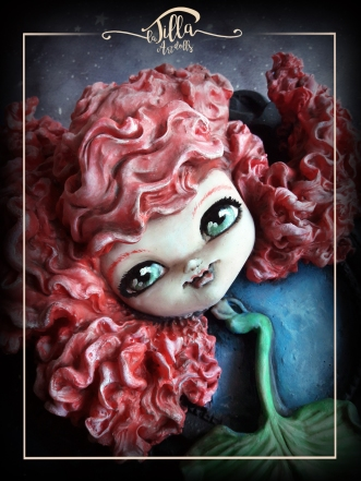 """""""ARIEL"""" Siren in cold porcelain and acrylic colors on porcelain frame (11 """", 8.5"""" depth 3 """")"""