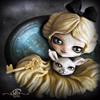 """ALICE AND THE RABBIT Ceramic plaster frame with decoration in cold porcelain and acrylic colors. (8.6 """"width 7.8"""" height 3 """"depth)"""