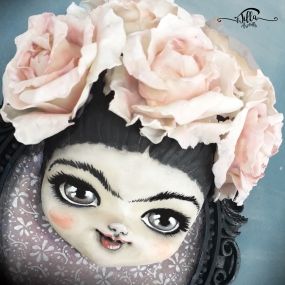 """""""Little big Frida"""" Resin frame, cold porcelain doll and acrylic colors! (6 """"width, 9"""" height, 3 """"depth)"""